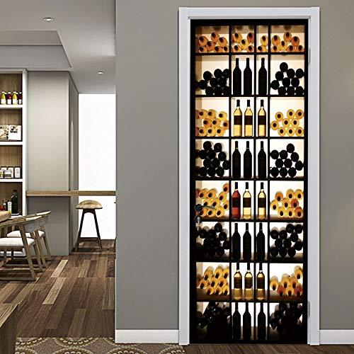 Türaufkleber 3D Retro Weinkühler Für Schlafzimmer Wohnzimmer Tür Renovierung Wandmalereien Wasserdichte Dekoration Zubehör 77 * 200cm