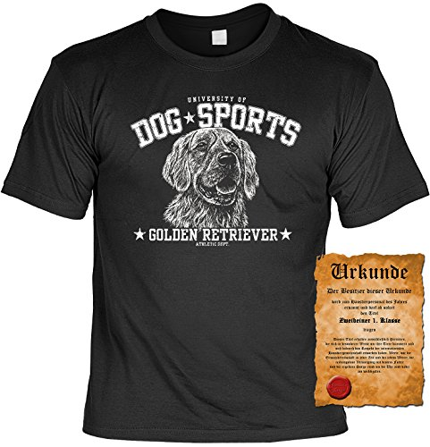 Lässiges Dog-Sports-Shirt+gratis Fun-Urkunde: Golden Retriever Schwarz
