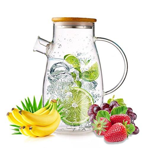 oneisall 1.8L Glas Karaffe mit Deckel, Ice Cold Juice Krug mit Deckel aus Bambus und-Ei Borosilikat Glas Krug Wasserkocher für Hot Kaffee, Milch, Lemon Tee, Wirbel FM628 (Glas Und Bambus-tee - / Wasserkocher)