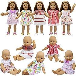 ZITA ELEMENT 5 Vetements Poupon Bebe 35 à 46 cm | Robes pour American 18inch Girl Doll et Vêtement Poupee 14 - 18 Pouces