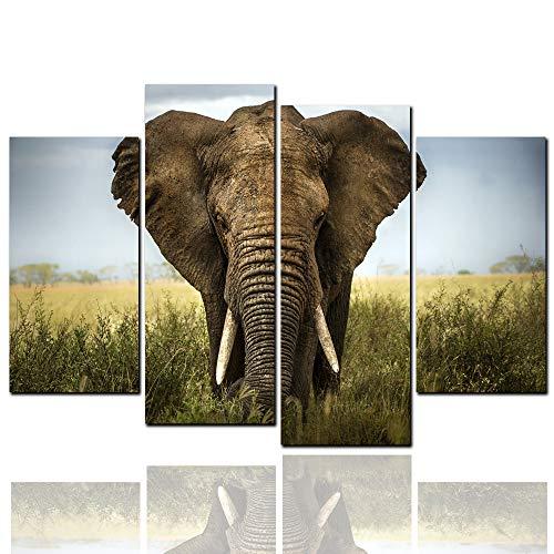 LW Gran Lienzo Africano Cuadro Elefantes 4 Piezas Multi Panel Split Lienzo,...