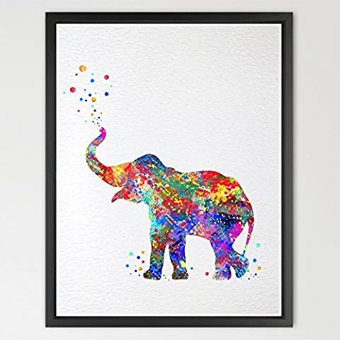 Dignovel Studios A4 Baby elephant trunk up print kids watercolour Art Print Wall Art Poster Nursery decor Kids Art Print Wall Hanging Wedding Birthday Gift N157-Unframed