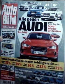 AutoBild 34/12 - Alle neuen Audi Neuer Super-Sportler: Scharf wie der Ur-Quattro - Rekord-Rabatte! Neuwagen so billig wie nie - Mega-Vergleich mit 15 Autos Die beste Mittelklasse