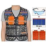 Cosoro Kids táctico chaleco Chaqueta Kit para pistola de juguete de Nerf N-strike Elite serie(con 50pcs Azul Espuma Dardos + 2pcs 5-dart Clip de recarga rápida+ Gafas de protección contra el viento) (Camuflaje de la selva)