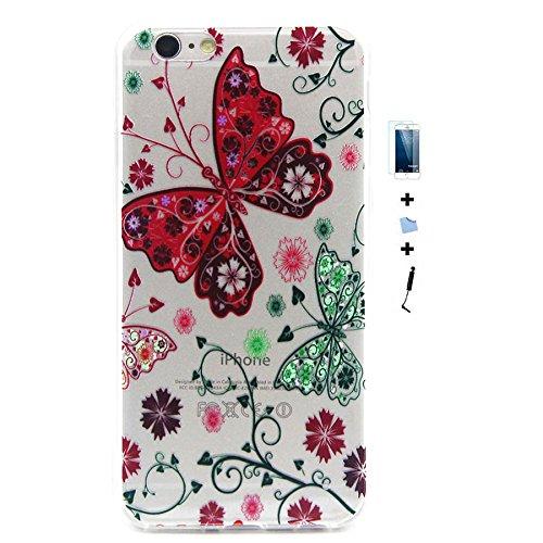 TIODIO® 4 en 1 Cuir Coque Rigide Case Etui Housse Smart Case Coquille avec pour Apple iphone 6S/iPhone 6, Stylus et Film protecteur inclus, A11 A38