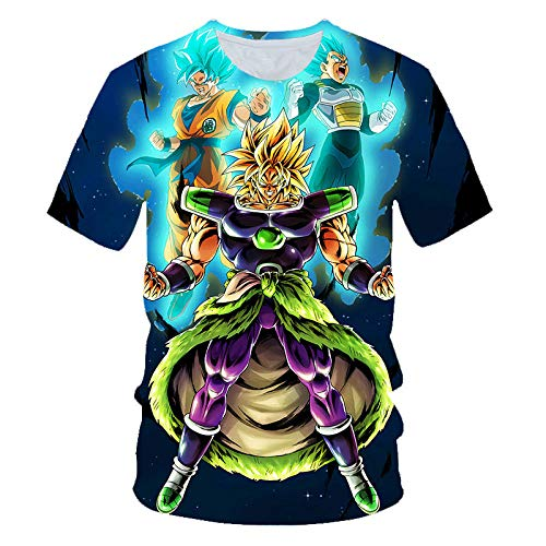T-Shirt,Dragon Ball Pattern Large Size Herren T-Shirt, Unisex Saiyajin Muster 3D Digitaldruck Kurzarm Top @ 3XL_Dragon_Ball_Z -