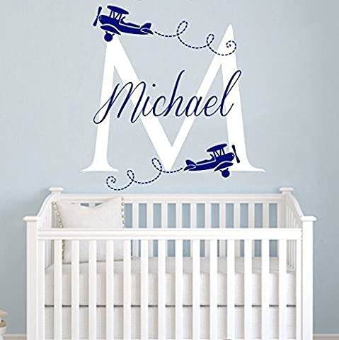 Airplane Wall Decals Custom Boys Name Personalized Name Biplane Nursery Baby Kids Initial Plane Gift Clouds Monogram Wall Vinyl Decal Sticker Bedroom Murals