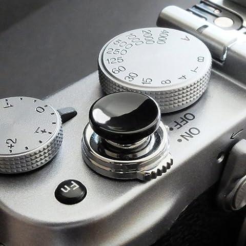 Métallique Soft Déclencheur en noir (concave, 10mm) pour Leica M-Serie, Fuji X100, X100S, X100T, X10, X20, X30, X-Pro1, X-Pro2, X-E1, X-E2, X-E2S et tous les appareils photos avec la bouche filetage conique