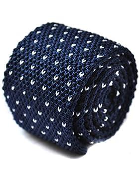 Frederick Thomas azul marino y blanco de lunares corbata de punto