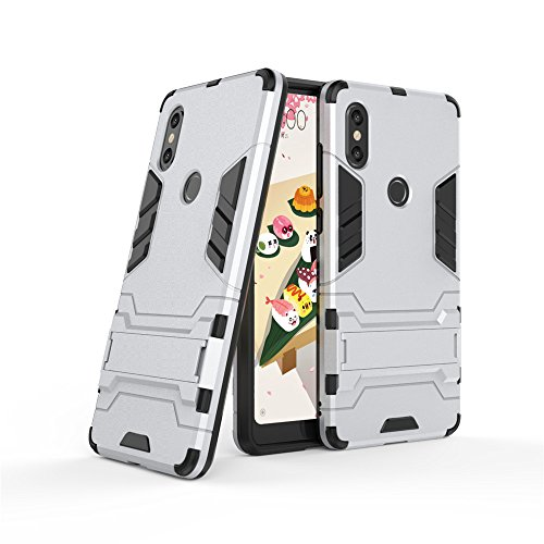 Funda Xiaomi Mi Mix 2s, LAGUI Carcasa Viene Con Una Soporte Plegable, Ultrafino Ligera Cubierta, Anti-Arañazos Anti-huella Cubierta Protectora, Robusta Caja Híbrida TPU / PC. plata