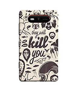PrintVisa Designer Back Case Cover for Nokia Lumia 820 (Black&White Avil Devil Fear Danger Bone Mummy)