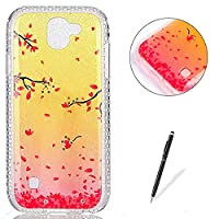 LG K3 2017 Case Silicone,[with Free Black Touch Stylus] KaseHom Gradient Colour Gold and Pink Soft TPU Bumper Skin Bling Glitter Diamond Unique Fashion Design Pattern Ultra Slim Shell Shockproof Anti-Scratch Protective Cover for LG K3 2017,Cherry Blossoms