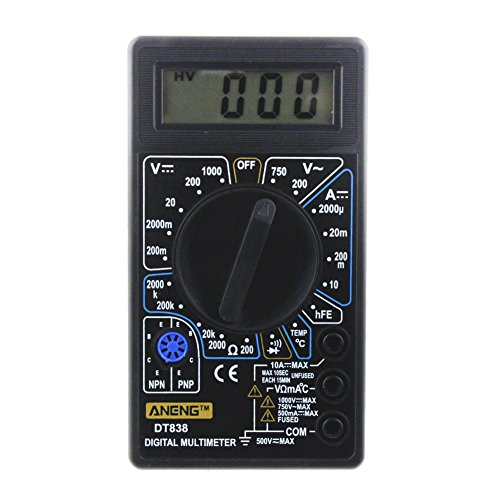 Preisvergleich Produktbild asiproper dt-838LCD Digital-Multimeter, AC/DC Volt Amp Ohm TEM (schwarz, 750/1000V
