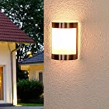 Lampenwelt Wandleuchte außen 'Kinga' (spritzwassergeschützt) (Modern) in Alu aus Edelstahl (1 flammig, E27, A++) - Außenwandleuchten, Wandlampe, Außenlampe, Wandlampe für Outdoor & Garten - 2