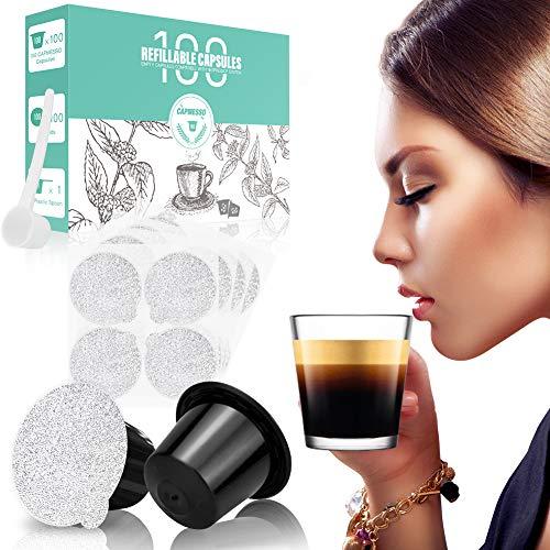 CAPMESSO Wiederverwendbare Espressokapseln Nachfüllbare Kapsel-Kaffeepads-Filter 200-mal wiederverwendbar mit Nespresso Original Line-Maschinen (100 Kapseln + 100 Deckel + Löffel)