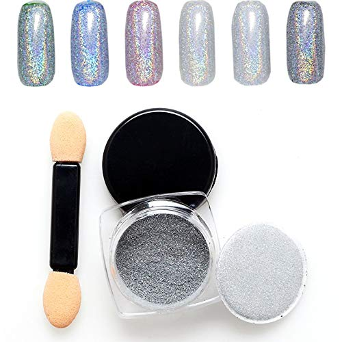 Coloré Ongles Brillants Glitter Poudre Conception Bling Polissage Manucure Nail Art Chrome Pigment DIY Nail Art Décoration - Argent