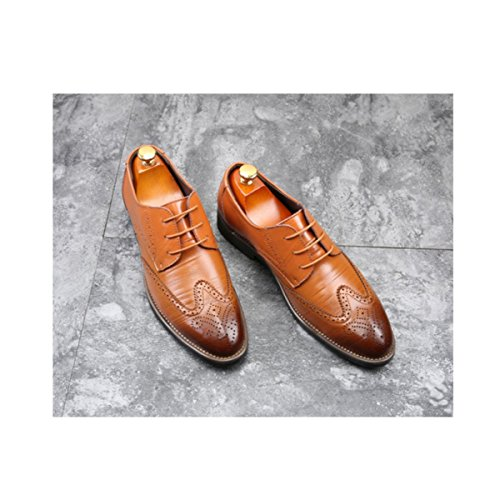 LYZGF Uomo Gentleman Primavera Estate Business Casual Fashion Extra Size Retro Laces Leather Shoes Yellow