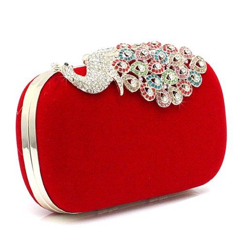 KAXIDY Pfau Kristall Diamant funkeln Abendtaschen Hart Schachtel Unterarmtasche Clutch Handtasche Rot