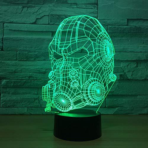 rwehrmann Helm Modellierung 3D Led Nightlights Kinder Touch Button Usb Maske Tischlampe Nachttischlampe Beleuchtung Dekor ()