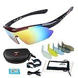 CDSS Im Freien Radsport-Brillen HD PC Sport-Sonnenbrillen Polarisiertes Licht UV-Schutz Augenschutz Herren/Damen Schutzbrillen Kommt mit 5 Wechselobjektiven, 001