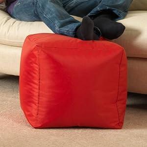 Bean Bag Bazaar - 38cm x 38cm, Cube Bean Bag Stool - Indoor and Outdoor Use - Water Resistant, Weather Proof Bean Bags from Bean Bag Bazaar