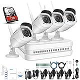 ANNKE 1080P 8CH WIFI Überwachungskamera Set,NVR recorder, CCTV Videoüberwachung System mit drahtlosen 4x 2.0MP 1080P IP Kameras für Innen Außen Bereich mit Nachtsicht-Funktion(1TB HDD)