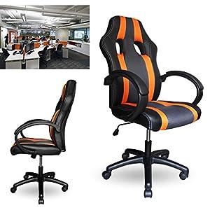 512 DE6jOXL. SS300  - HG-PU-Racing-Chair-Silla-de-oficina-Comfort-Executive-Chair-Silla-giratoria-naranja-Altura-ajustable-Capacidad-de-carga-200-kg
