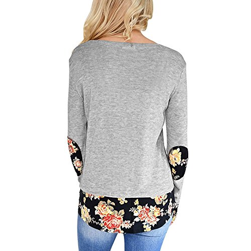 Dihope Femme Printemps Automne Top Col Rond Manches Longues Imprimé Floral Tee-shirt Casual Tee-shirt Blouse Haut Blouse Gris