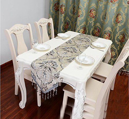Miaoge Lusso perline appese table bandiera tessuto ricamo europeo occidentale carta da parati tavolino table flag stoffa 240*33cm