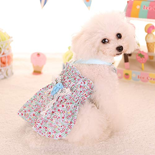 DOGCATMM Schöne 2 Farben Floral Pet Kleid Für Kleine Hunde Hund Kleid Hochzeit Kleid Sommer Hund Kleidung Xs-XL -