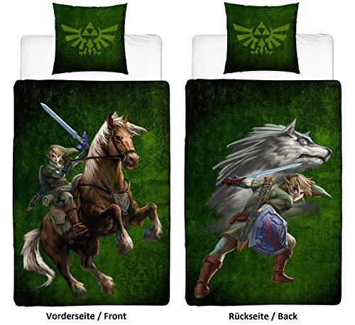 Familando Wende Bettwäsche-Set The Legend of Zelda, 135x200 cm 80x80 cm, 100{40f671f9f2fe5c5c03f5f9f96949d2615d7dff9a1934b230b18c78f250f221d3} Baumwolle Linon mit Reißverschluss mit Wolf-Link und Triforce-Logo