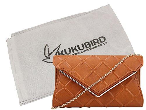 Liv Kukubird goffrato Cross Hatch Prom Partito metallo V dettaglio catena tracolla pochette borsa con sacchetto raccoglipolvere Kukubird Brown