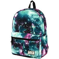 TRENDMAX Mochila Escolar con Estampado de Galaxia | 42,5x29x13cm | para portátil 15 Pulgadas | Verde