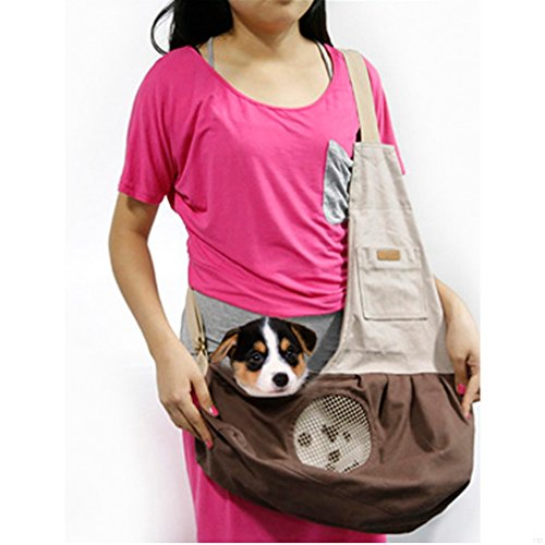 GADIEMENSS Nature Canvas Carrier Pet Sling Bag with Extra Pocket Single Shoulder Carry Bag for Small Animals Cat Dog Puppy Kitty Rabbit (Brown) (Tote Reversible Canvas)