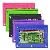 Bustina a matita 3 anelli-5 Pack zip Binder a matita borsa portamatite trasparente ad alta capacità organizzatore con colore brillante & finestra di plastica da YOUSHARES