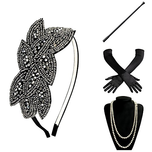 (BABEYOND 1920s Flapper Set Damen Gatsby Kostüm Accessoires Set inklusive Stirnband Halskette Handschuhe Zigarettenhalter (Set-28))