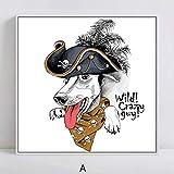 XIAOXINYUAN Nordischen Stil Poster Kunst Leinwand Malerei Drucke Cartoon Tiere Piraten Hund Bild Für Kinderzimmer Dekoration 40X40 cm