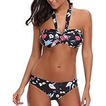 Venta caliente ! Longra ✿ Conjunto de halter bikini de impresión floral push-up de mujer / ropa de baño bohemia / tangas y tops de bikini / Trajes de baño (L ❤️, Multicolor)