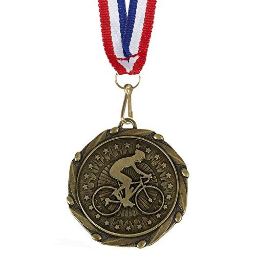 25Stück x Gold Combo Rad-Medaillen mit Rot, Weiß & Blau Bänder 45mm (13/10,2cm) (Gold-medaille-combo)