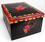 Aufbewahrungsbox Box Ordnungsbox Pappe Karton Deko-box mit Deckel und Hand-griff Stapelbox Dekokarton 51x37x24 cm Rosen - schwarz rote Rosen
