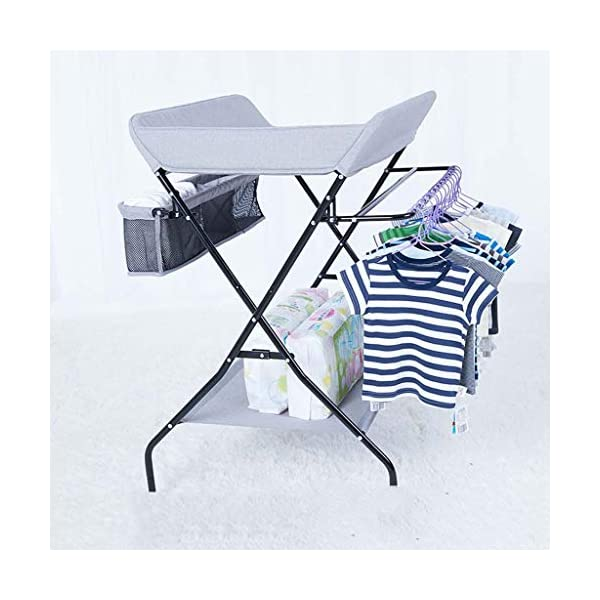 YRR Changing Table Folding Diaper Station Nursery Organizer for Infant YRR ★Made of rugged material, safe and sturdy construction, and quick and easy assembly design, it is also easy to wipe and clean, foldable, easy to carry, and can be deployed in seconds or indoors. Keep your baby safe ★Size: 80*67*104cm;Applicable baby age: 0~3 years old;Can carry weight: less than 25 kg;Material: Steel Pipe, high quality Oxford cloth ★Foldable design, easy storage, does not occupy space 5