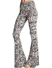 Hibote Pantalon Femme Bootcut Pantalon Pantalon Fleurs Imprimer Élégant  Pantalon Flares Pantalon Haute Wasit Occasionnel Festive 88f413b2bb9