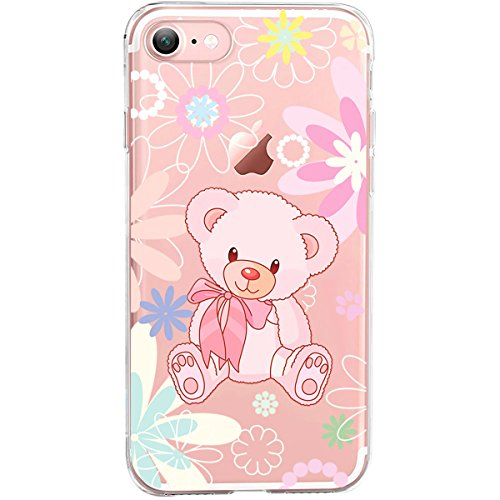 GIRLSCASES® | iPhone 8 / 7 Hülle | Im Macaron Girly Look aus Silikon | Fashion Case transparente Schutzhülle Teddibär