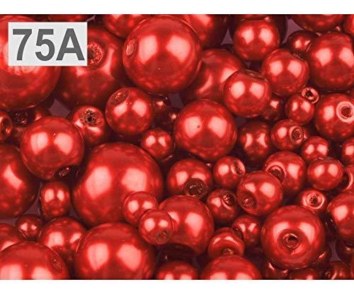 100gramm 75a Rote Erdbeere Wachsperlen Aus Glas Mix Ø4-12mm, Glasperlen (Glas-rosenkranz Rot)