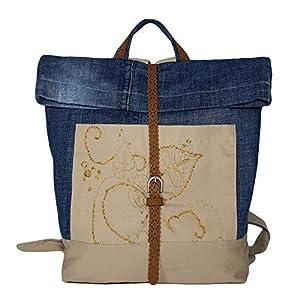Damen Rucksack aus Denim, Tagesrucksack mit Fronttaschen, Schultertasche blau beige mit Stickerei, Laptop Backpack für…