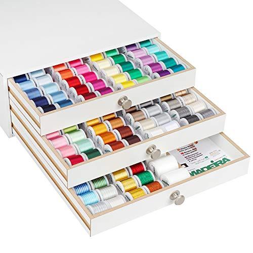 Madeira Profi Garnschatulle Rayon 200m Farbe Weiss inkl. 190 Spulen Maschinen-Stickgarn -