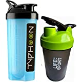 Combo Of 2 (700ml + 500ml) Blue Typhoon + Green Life Is A Sport Shaker Bottle, Protein Shaker / Sipper / Gym Bottle / Water Bottle / Good Quality Shaker Bottle For Both Men's / Women's / Boy's / Girl's (700 Ml + 500ml) Shaker, Bottle, Sipper Pack Of 2 (70