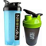 Combo Of 2 (700ml + 500ml) Blue Typhoon + Green Life Is A Sport Shaker Bottle, Protein Shaker / Sipper / Gym Bottle / Water Bottle / Good Quality Shaker Bottle For Both Men's / Women's / Boy's / Girl's (700 Ml + 500ml) Shaker, Bottle, Sipper Pack Of 2 (70