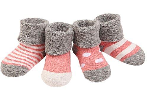 Ueither Säugling Baby Kleinkind Warm Dick 4 Sorten Kuschelige und Niedliche Socken für Mädchen und Jungen (4 Paar) (Rosa (für den Winter), XS (0-6 Monate)) (Baby-socken Niedliche)