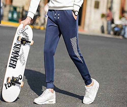 WTUS Uomo Pantaloni Sportivi -Stretti in Caviglia Classic Fit Blu
